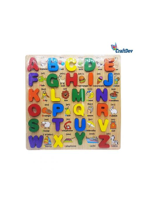 12x12inch Wooden Board Puzzle with Chunky Alphabet Upper Case
