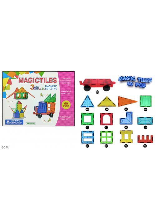 3D Transparent Magnetic Building Block Magic Tiles Puzzle For Kids ( 60 Pieces )