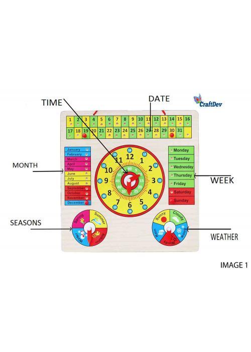 Wooden Calendar & Clock Board 12