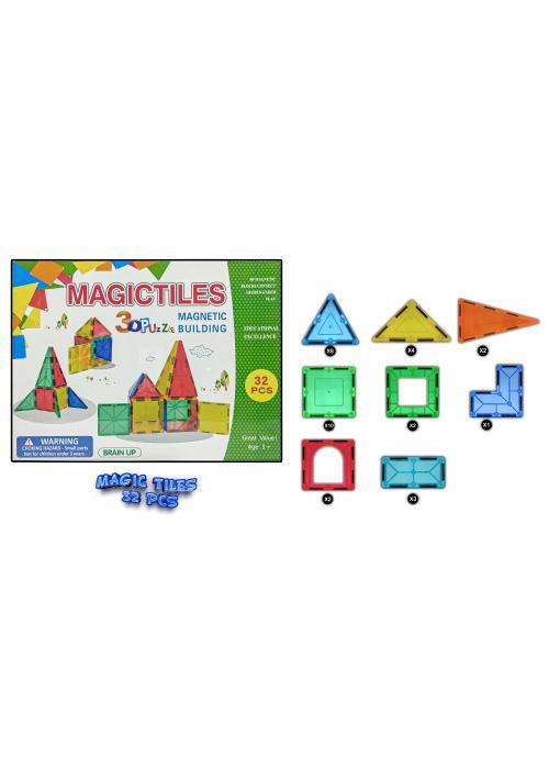 3D Transparent Magnetic Building Block Magic Tiles Puzzle For Kids ( 32 Pieces )